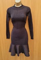 UK 6-8 KAREN MILLEN XS Brown Sparkle Ribbed Bodycon Flippy Knit Jumper Dress