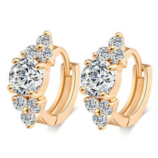 Lucky Womens Gold Plated round crystal Fashion small Hoop Earrings flower jewell