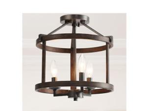 Farmhouse Semi Flush Mount Ceiling Light, 3-Light Dark Bronze Ceiling Light