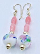 14ct Rolled Gold Vintage Glass Floral Bead Pink Bamboo Coral Earrings UK