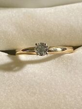 Solitaire Engagement Ring~1/5 Carat~Size 5.5 14Kp (Plumb) Yellow Gold Diamond