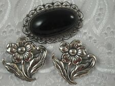 Vtg Lot 3 Sterling Silver Brooches Mexico Taxco Black Flowers Glass Onyx Pins