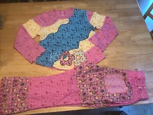 OILILY Sz 140 152 Embroidered Long Sleeve Shirt & Pants Flowers Pink Turquoise
