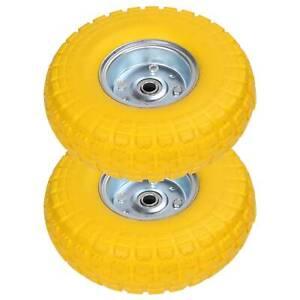 "New 2 x10"" Solid Rubber Tyre Wheel Sack Truck Trolley Cart Flats Pneumatic UK"
