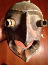 Vintage Carved Wood Mexican Eagle Dance Mask With Buggy Eyes!