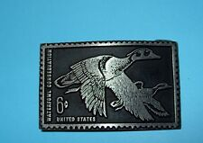 Vtg Flying Wood Duck Stamp 6 cent Belt Buckle Pewter Dory Duplicates Waterfowl