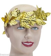 Roman Greek Goddess Gold Leaf Laurel Wreath Headpiece Toga Fancy Dress Costume