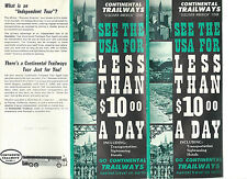 Continental Trailways Discover America Bus Tour 1960's Brochure Route Map Photos