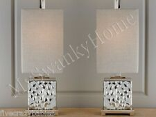 NEIMAN MARCUS Modern SILVER Glass Table Lamp Pair Set Contemporary Bashan