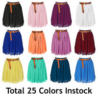 Lady Women Chiffon Mini Skirts Pleated Retro High Waist Double Layer | 25 Colors