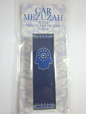 "Car Mezuzah 2.5"" Acrylic ROYAL BLUE HAMSA with Travelers Prayer Scroll"