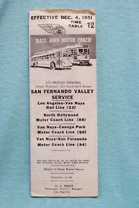 Pacific Electric Pocket Time Table #12, San Fernando Valley, 12/4/51