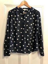 BODEN WOMENS SIZE 14 NAVY BLUE SHIRT TOP WITH LEAF PATTERN BRILLIANT CONDITION