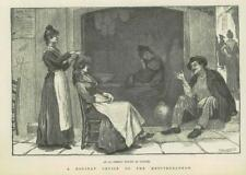 1890-antica stampa Italia Napoli al fresco Toilet Crociera Mediterranea (257B)