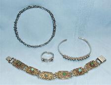 Vintage Israel Sterling Silver Ring & Two Israel Sterling Bracelets+One Other