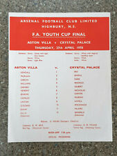 More details for 1978 - fa youth cup final replay programme - aston villa v crystal palace