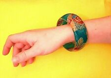 Oversized, Giant, Bangle, Eastern Style - Oriental Tropical Blue with Red Flower