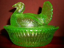 Green Vaseline glass Turkey hen chicken on nest basket dish candy butter uranium