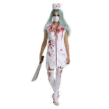 Womens Bloody Nurse Zombie Halloween Fancy Dress Costume Ladies Horror Outfit