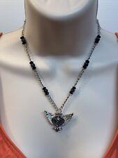 Hard Rock Cafe Necklace Angel Heart Wings w Black Beads Silver Tone