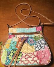 FOSSIL Floral Patchwork Leather CrossBody Purse Small Handbag Multicolor Brown