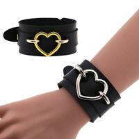 Herz Armband Schwarz Leder Armband Manschette Goth Gothic Punk Armbänder BracBOD