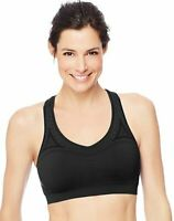 Hanes JogBra X-Temp Racerback Sports Bra, Yoga, workout gym, Black, Small 2 Pack