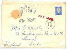 VV107 1980s Canada Underpaid Airmail *T13/25* Cover GB *20p TO PAY* {samwells}