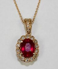 14k Rose Gold Oval Red Ruby And White Diamond Halo Pendant With Chain