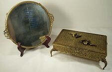 Antique French Ormolu Gilt Jewelry Box W/Matching Vanity Mirror Plate