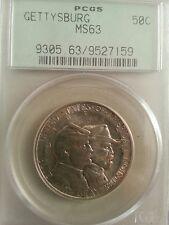 1936 gettysburg commemorative half dollar pcgs ms63 older blue label commem coin