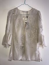Stunning Karen Millen Cotton/Silk Tribal Top - Neutral - Size 2 (USA) X-Small