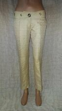 By Malene Birger golden textured formal trousers with leather trims size 38