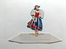 Vintage Bridge Game Tally Place Card- Dutch Girl in Dress and Wooden Shoes