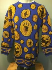 Vtg 80s Knit Blue Wool Ugly Sweater Mens S Indian Gold Coins Crewneck Pullover
