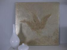 Bild Struktur Blätter helles Gold metallic Abstrakt Modern Acryl 60 x 60 cm.