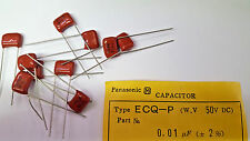 .01uf 50V 2% Panasonic / Matsushita (LOT OF 5) ECQ-P Radial Capacitors Precision
