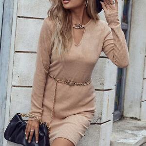 Autumn Khaki Long-Sleeved Ladies Knitted Dress Casual Simple Slim Mini Dresses