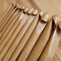 12 PCS/Set Bamboo Wooden Handle Crochet Hooks Knit Handcraft Needle 3mm-10mm