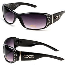 New Womens Rhinestones Designer Wrap Sunglasses Shades Fashion Black Bling Retro