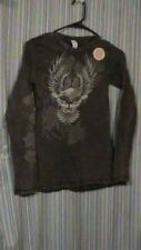 Brown Biker Shirt with Eagle and Roses on Sleeves - Size Small