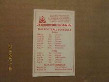 American Football Association Jacksonville Firebirds 1981 Football Card Schedule