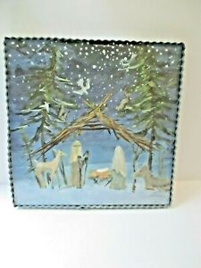 Roxanne Spradlin Round Top Collection Christmas Nativity Picture Metal Wood