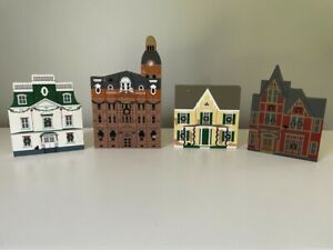 The Cats Meow Village Hometown Christmas 4pc Set 1992
