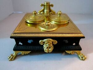 antique square brass metal ink well with feet. Glass inserts. Greek God Horns