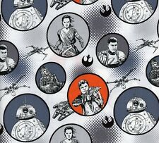 STAR WARS - THE FORCE AWAKENS - Character Badges -Grey/Orange -Fabric - 1/2 Yard