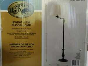 59'' Oil-Rubbed Bronze Swing-Arm Floor Lamp /Cream Fabric Drum Shade Hampton Bay