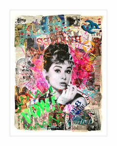 Audrey-Time - Pop Art, Contemporary Art Oil, Acrylic & Collage on Paper