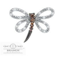 Brandy Diamond Chocolate Brown 14K White Gold Beautiful Dragonfly Pendant .27 Ct