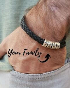Personalized Silver 925 Men Braid Black Bracelet with Small Engraved Beads